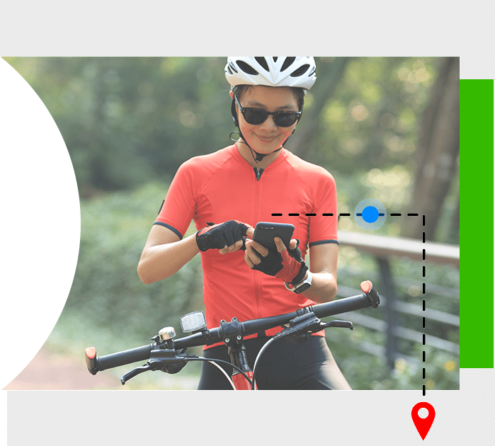 cyclist searching for location on phone