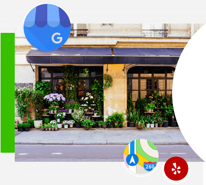 storefront with a variety of potted plants